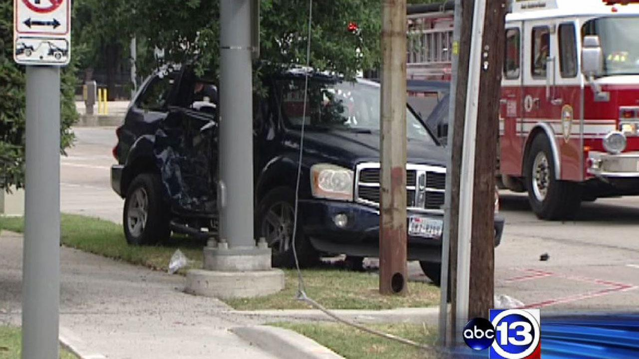 Two SUVs collided in downtown Houston, sending 10 people to the hospital