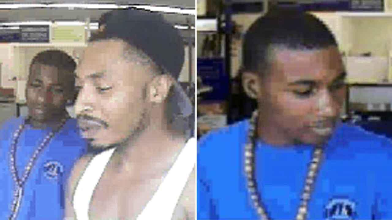 Surveillance images of two men accused of pawning stolen merchandise