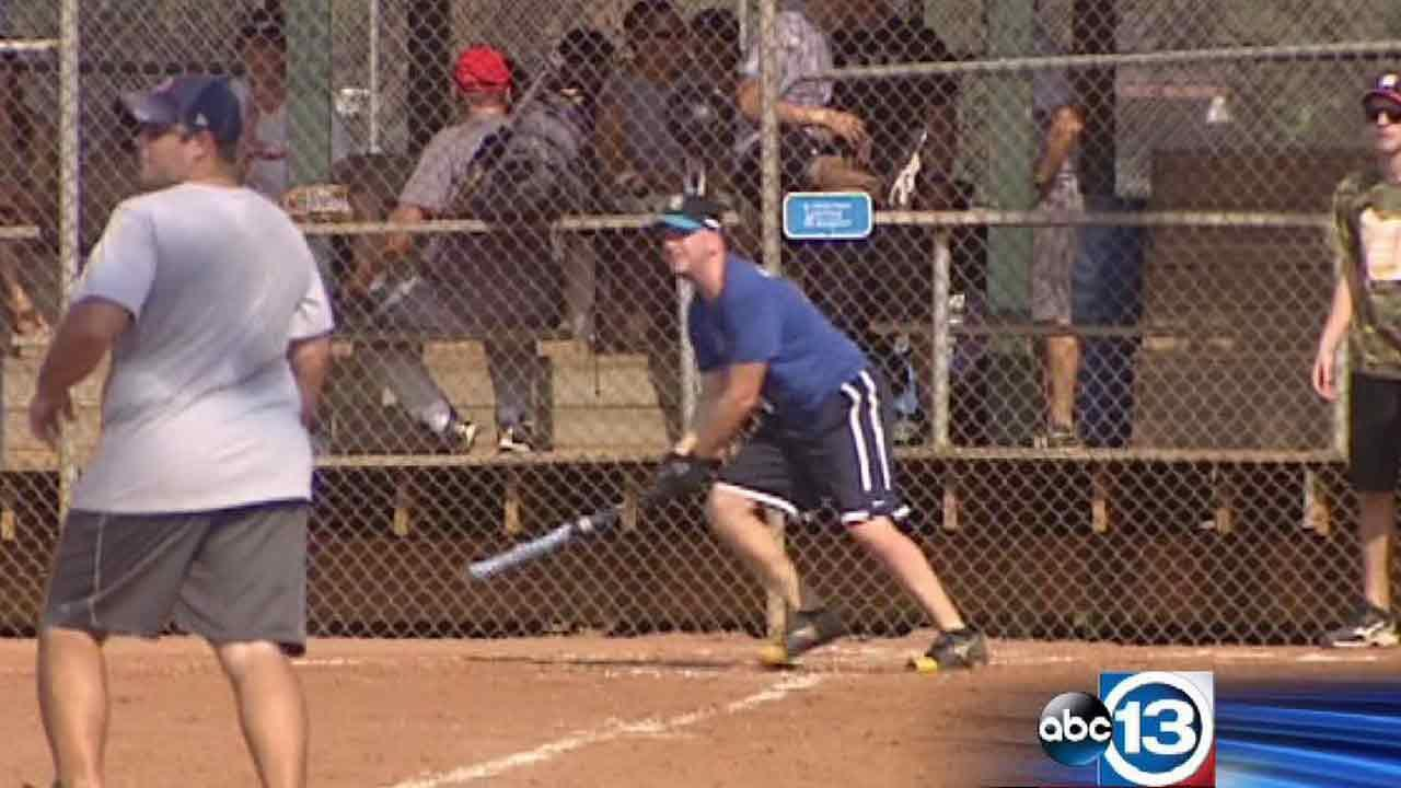 Local firefighters played in a softball tournament on Saturday, August 31, 2013, to raise funds for Capt. William Dowling
