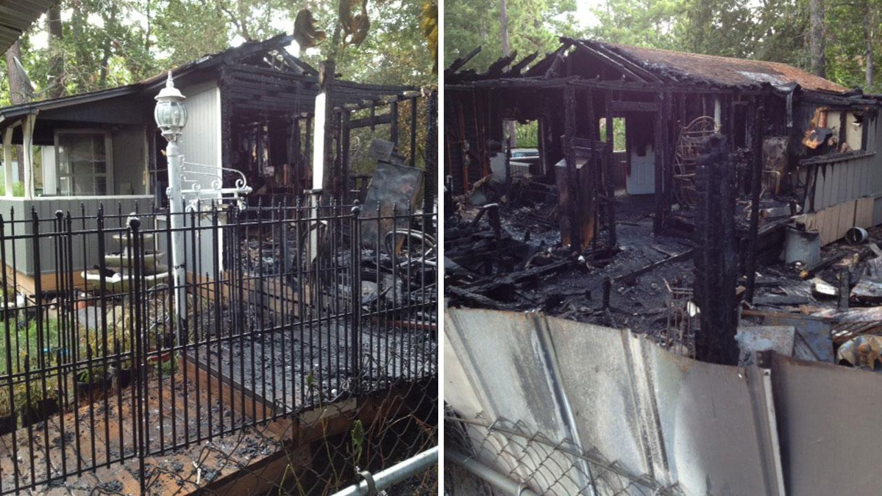 These photos provided by the Montgomery County Fire Marshals Office show a home gutted by flames in the Big Oaks subdivision