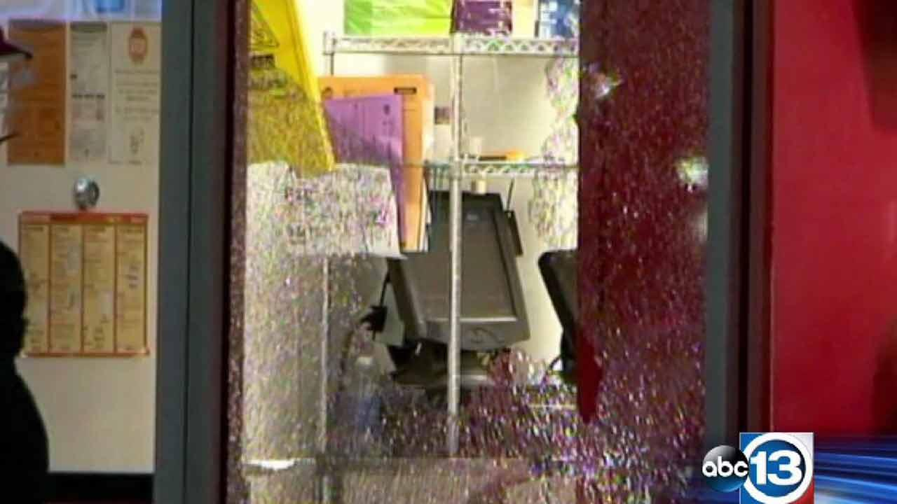 Police say the robbers tried to get into the business on West Little York, but the doors were locked. Thats when one of them pulled out a gun and shot through the window.