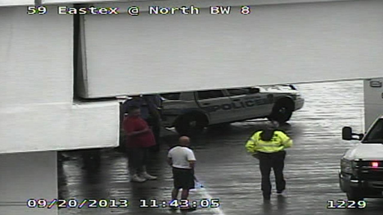 A Houston police officer has been involved in an accident on the Eastex Freeway on Houstons north side