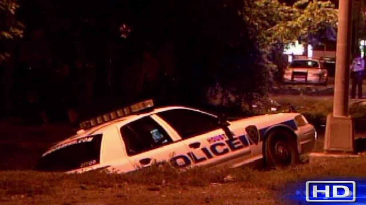 Police officer crashes