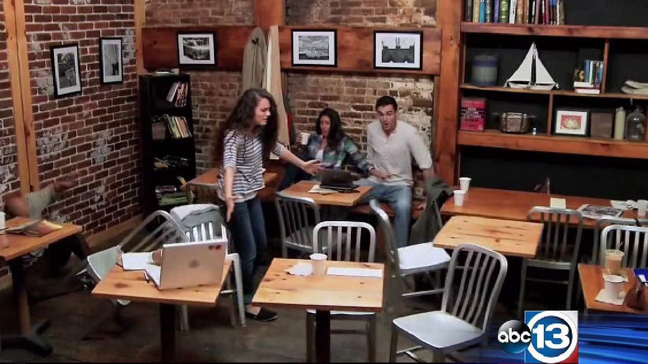 Carrie prank in coffee shop