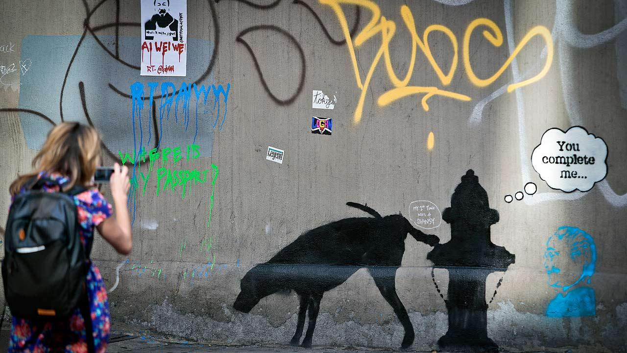 Graffiti by the secretive British artist Banksy