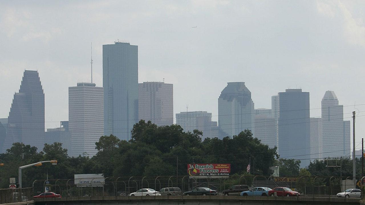 Traffic flows near downtown Houston