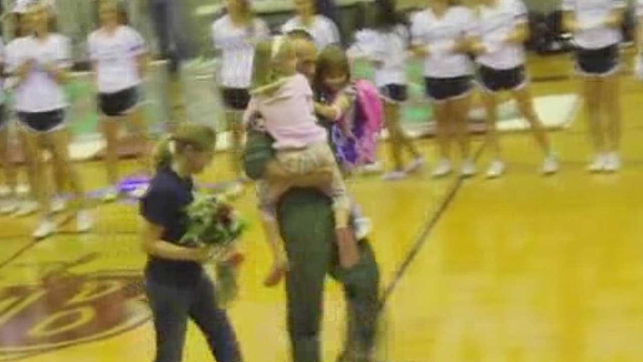 Air Force Lt. Caton Hammock returned home after almost two years, surprising his kids at an East Bernard High School pep rally