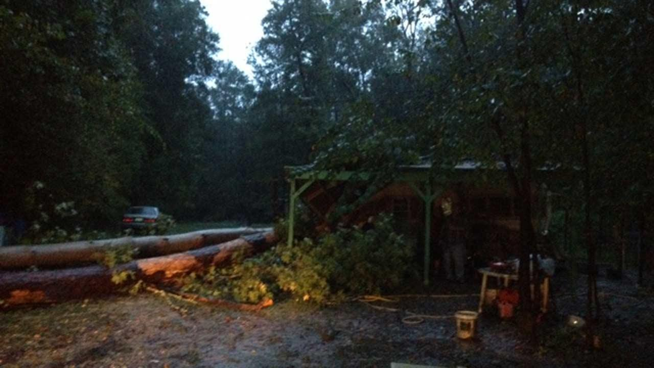A couple of trees fell on top of a trailer home in northeast Harris County