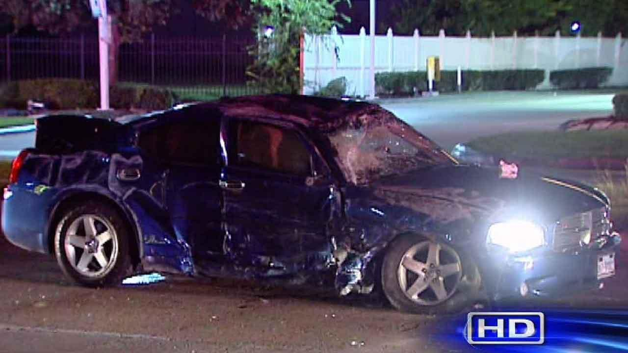 One of two cars involved in a crash on Sam Houston Parkway at Bissonnet. Both drivers were hospitalized