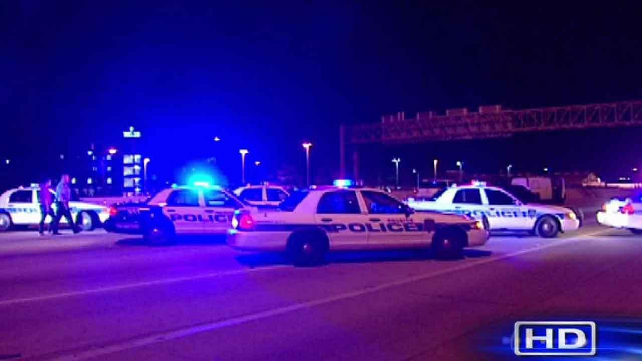 Houston police at the scene of a crash that left a pedestrian dead in northeast Houston