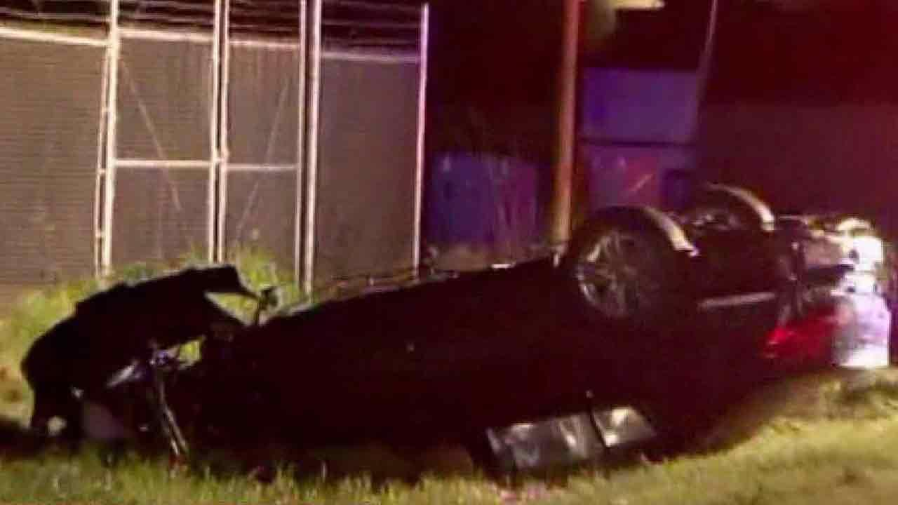 Deputies say the driver of this car died after the vehicle went airborne and landed in a ditch filled with water on West Little York