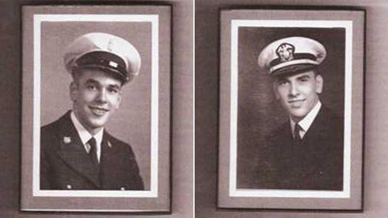 Francis Catlin (left) and Robert Catlin (right) are identical twins who served their country during World War II and now live in Houston