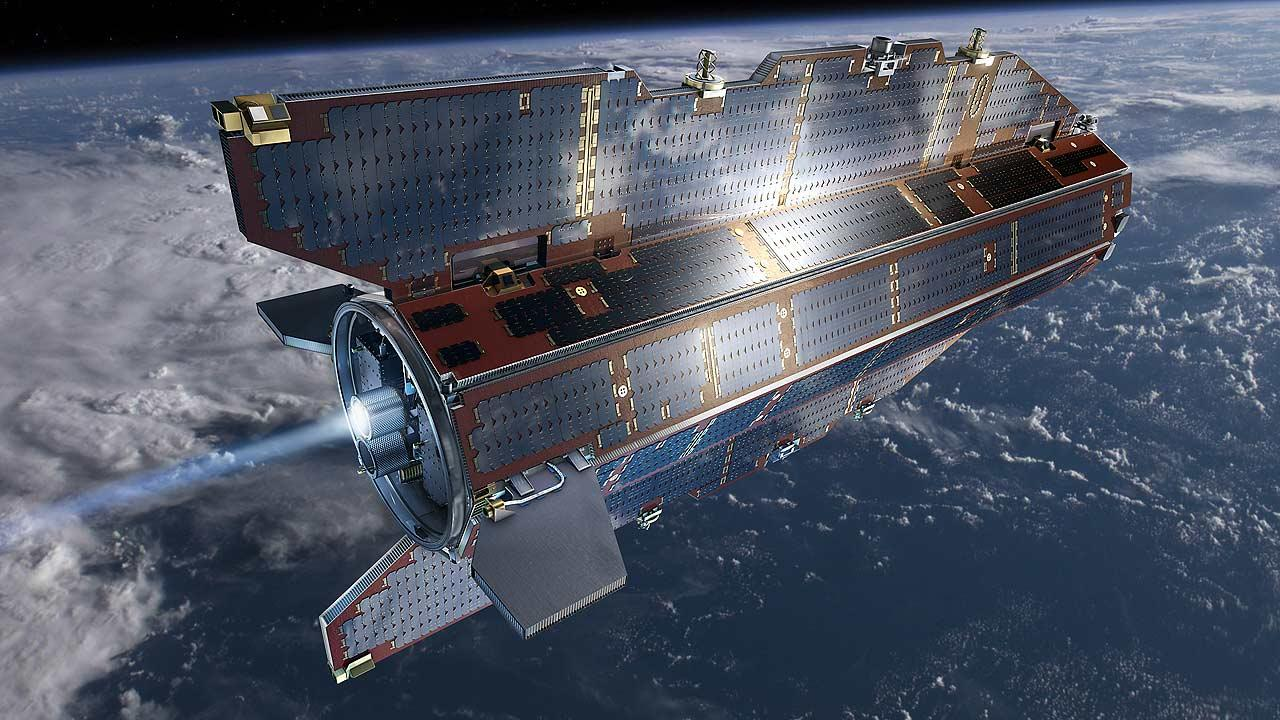 In this image, publicly provided by the European Space Agency ESA, research satellite GOCE flies above earth.