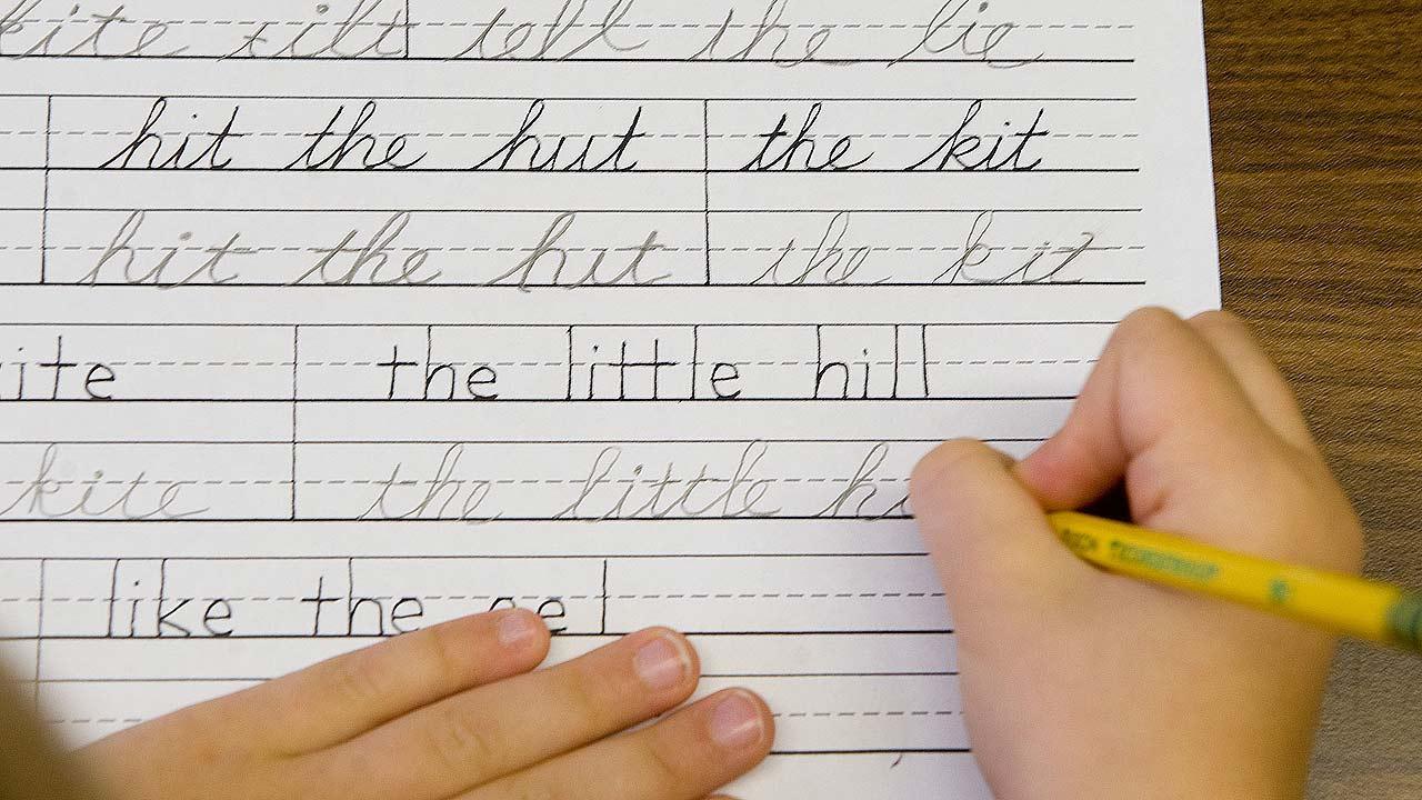 Student practices handwriting