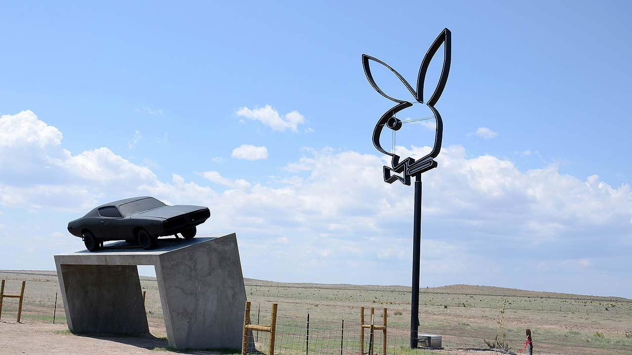 The Playboy Marfa sculpture debuted last June in Marfa, about 180 miles southeast of El Paso.