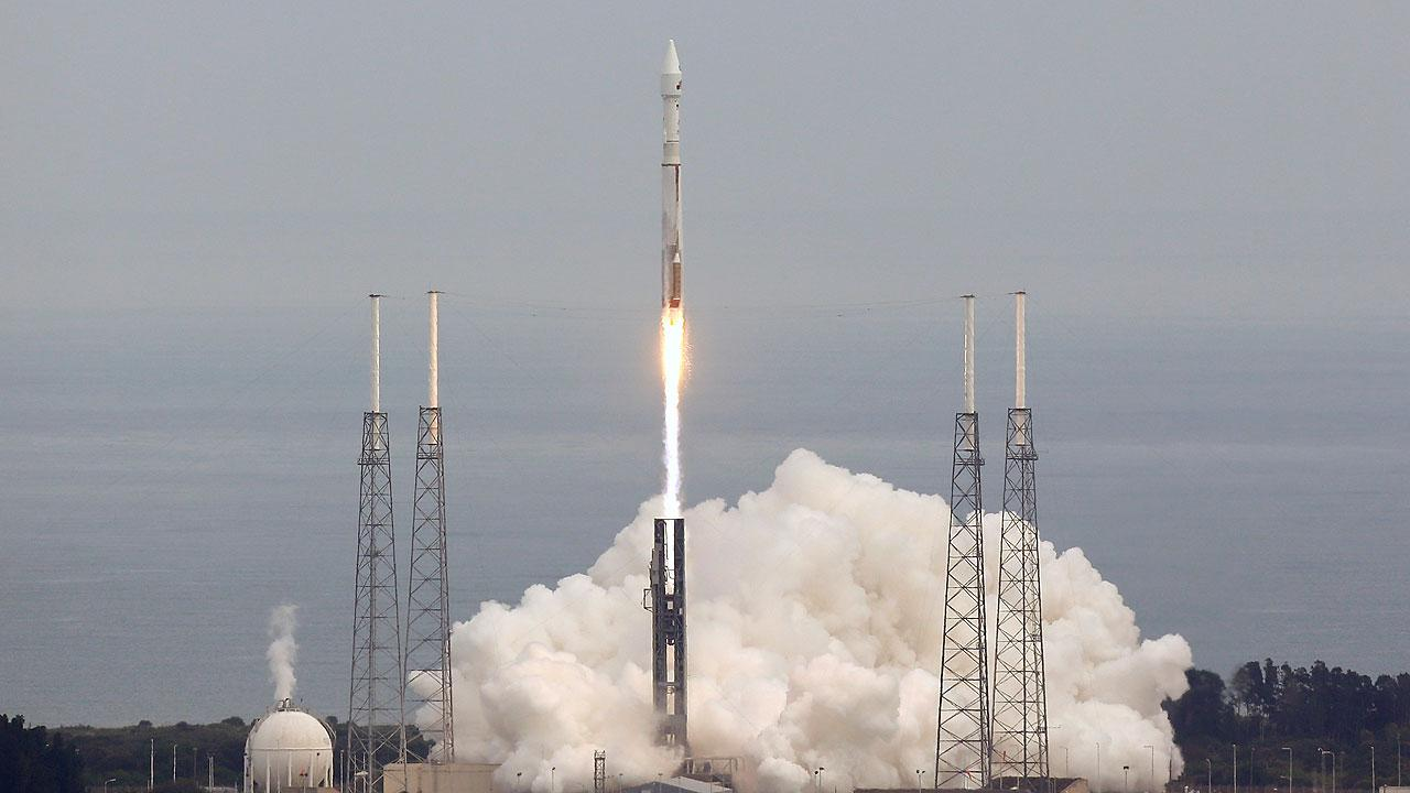 NASAs Maven, short for Mars Atmosphere and Volatile Evolution, with a capital N in EvolutioN, atop a United Launch Alliance Atlas 5 rocket, lifts off from Cape Canaveral Air Force Station