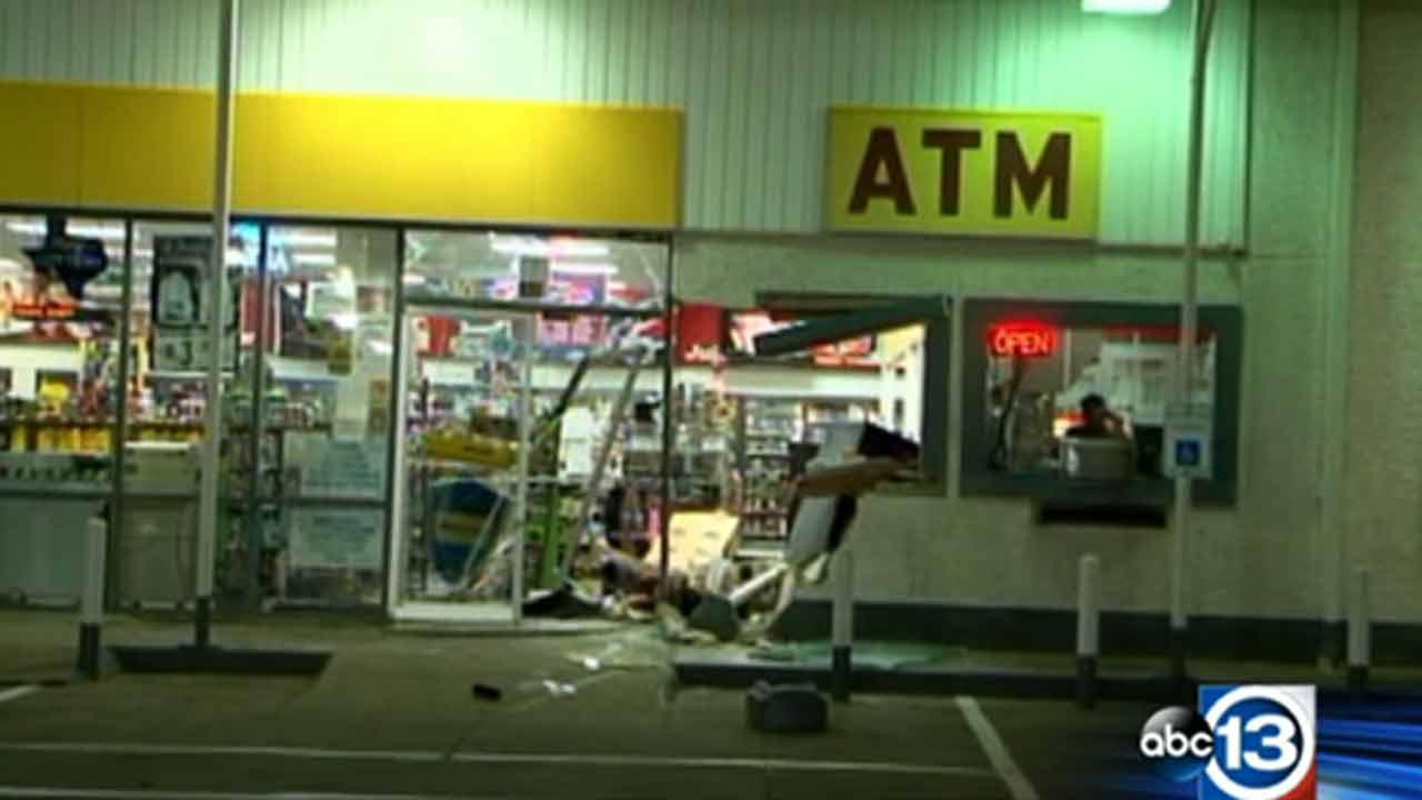 Thieves smash vehicle into store