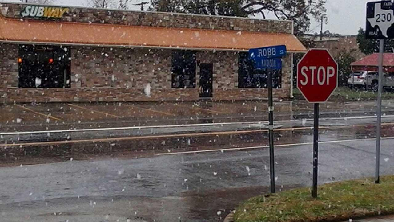 Wintry weather hits north of Houston
