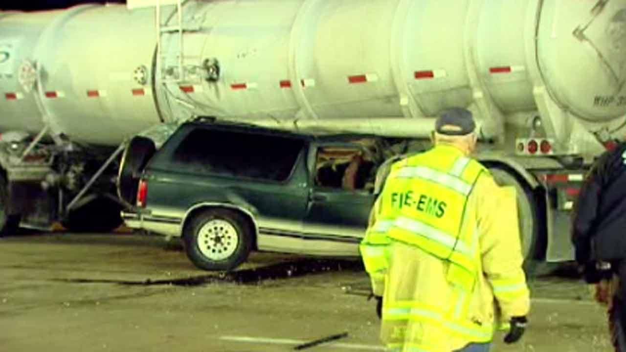 SUV driver collides with oil tanker
