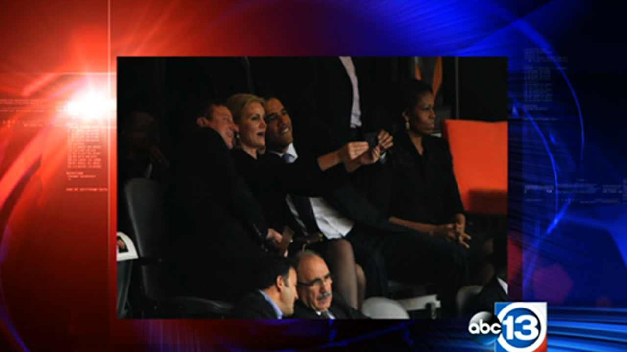 President Obama is being criticized for taking a selfie with Prime Ministers of Britain and Denmark.
