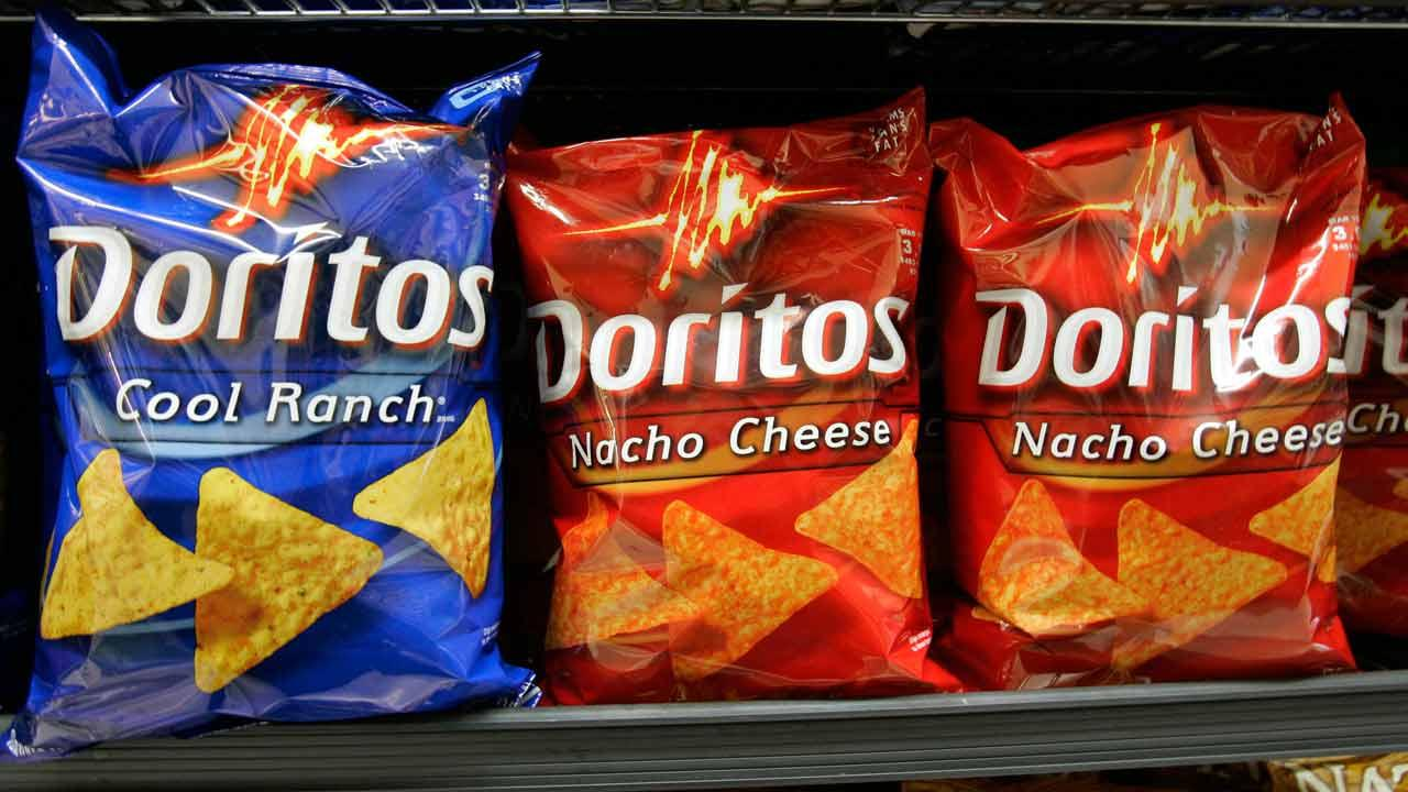 Doritos chips, a Frito Lay brand, on display at JJ&F Market in in Palo Alto, Calif., Monday, Feb. 9, 2009. Pepsico is parent company of the Frito Lays brand. (AP Photo/Paul Sakuma)