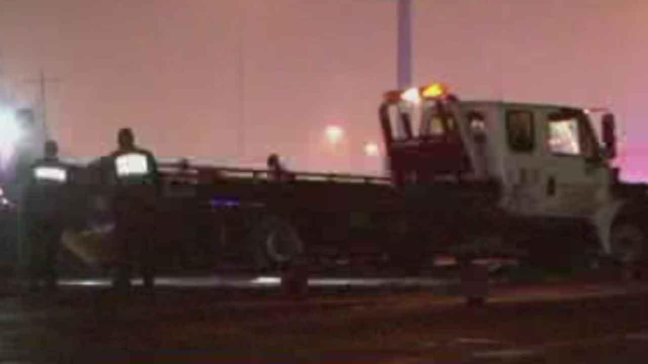 This 18-wheeler was involved in a multiple-vehicle crash that shut down the East Freeway at Mercury