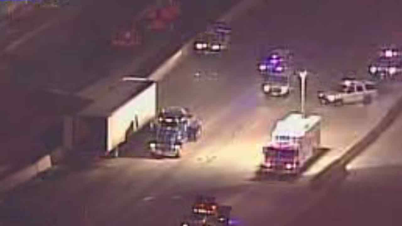 SkyEye13 HD was overhead as crews worked to clear an 18-wheeler accident from the North Freeway