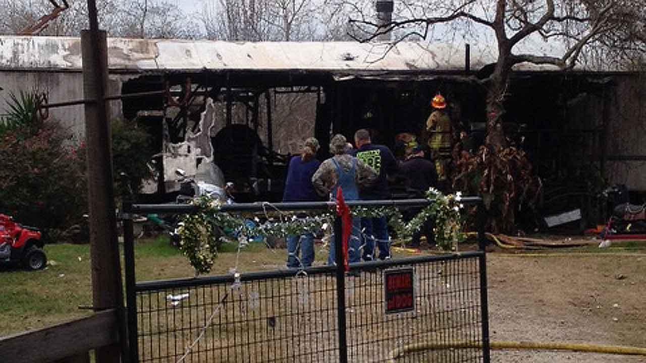 A family was gone when their mobile home caught fire in Crosby