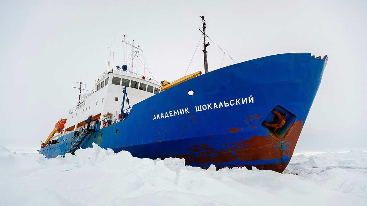 Icebound ship in Antarctica
