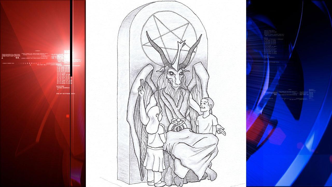 Satanic statue sketch