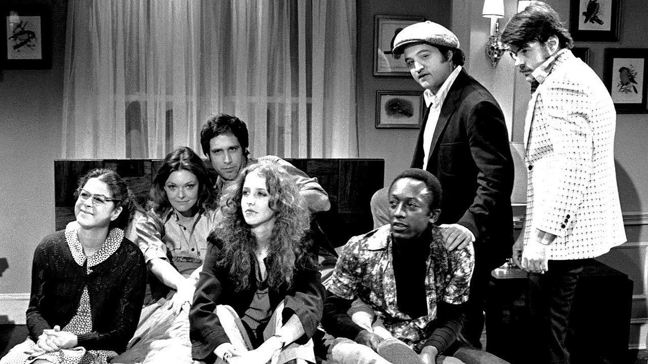 Cast of Saturday Night Live in 1975