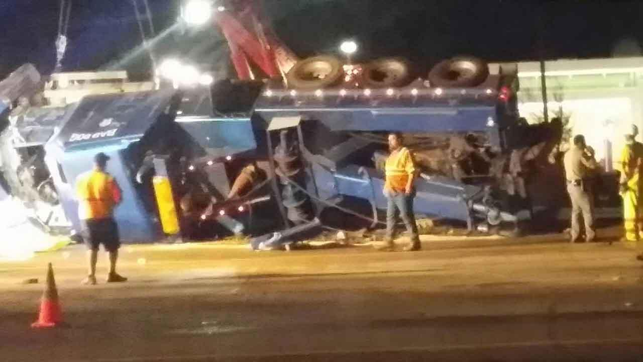 A wreck involving a large truck and a car caused a major traffic jam on Interstate 45 at Highway 242 Friday night. Photo submitted by ABC13 viewer Rebekka Fincher. If you see news happening, send photos/video to news@abc13.com.