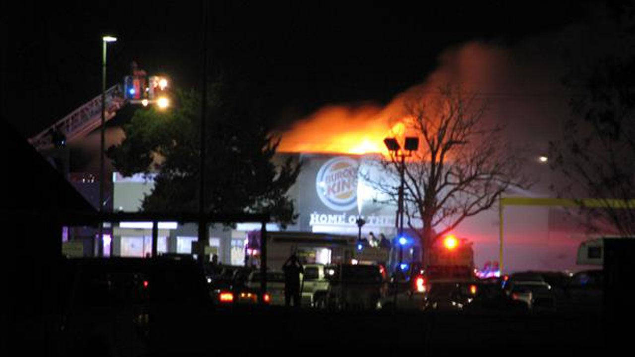 A two-alarm fire damages a Burger King in Angleton.