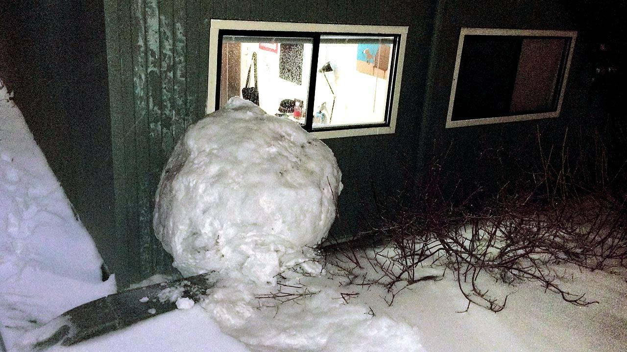 Large snowball crashed into a Grove Quad dormitory at Reed College in Portland, Ore.