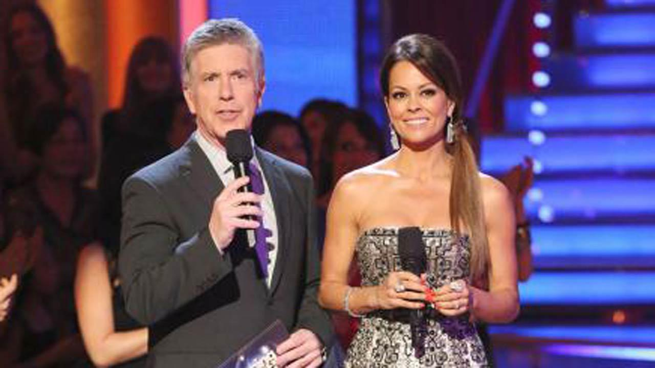 Tom Bergeron and Brooke Burke-Charvet appear on ABCs Dancing With The Stars on April 22, 2013. (ABC Photo / Adam Taylor)
