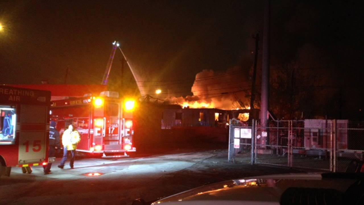 A vacant warehouse caught fire in north Houston.