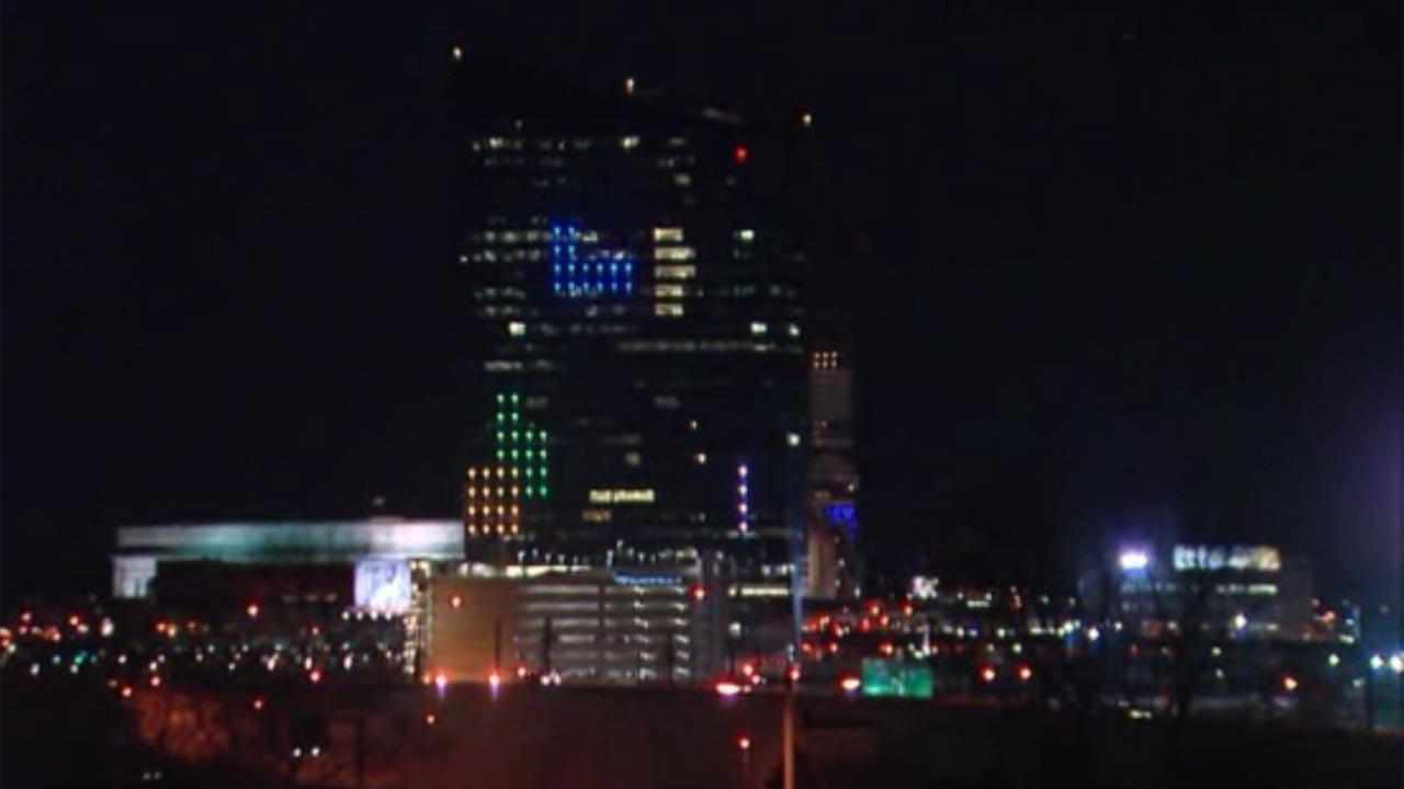 Tetris on Philly building