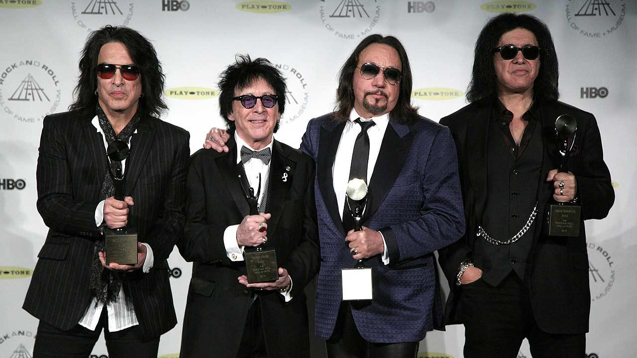Hall of Fame Inductees Kiss original band members Paul Stanley, Peter Criss, Ace Frehley, and Gene Simmons