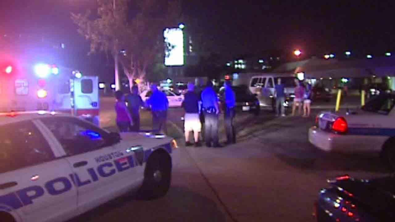 Police say a man stabbed three people after getting into a fight inside a west Houston bar