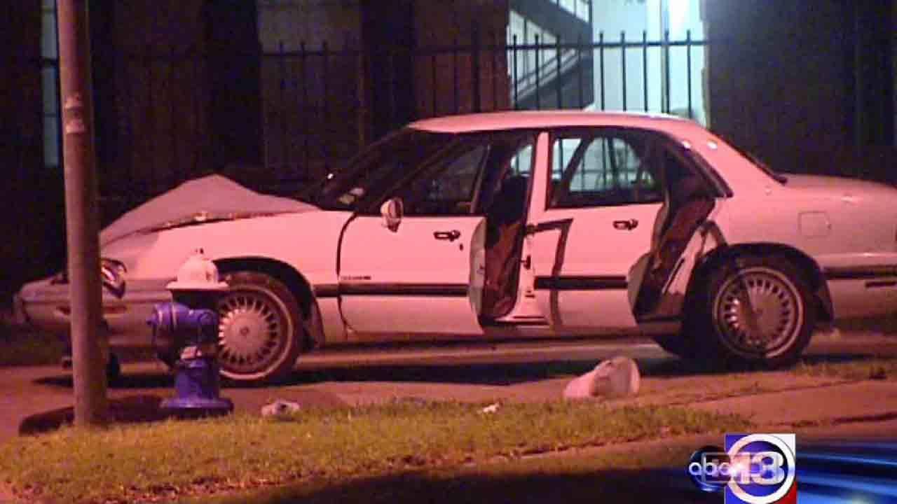 Investigators say the driver of this car was shot, causing a crash. The victim is recovering and the gunman remains at large, officials say.