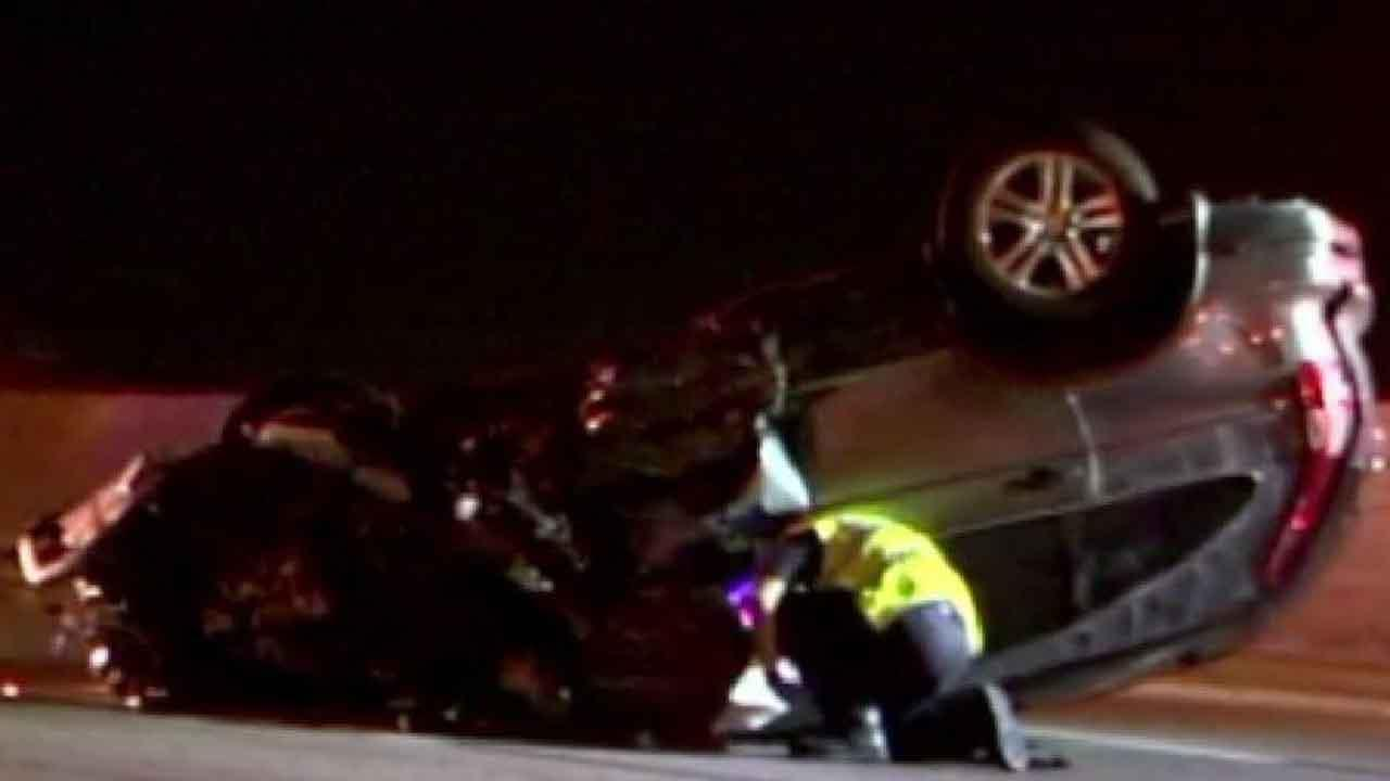 Police said a drunken driver driving the wrong way on the North Freeway caused this crash