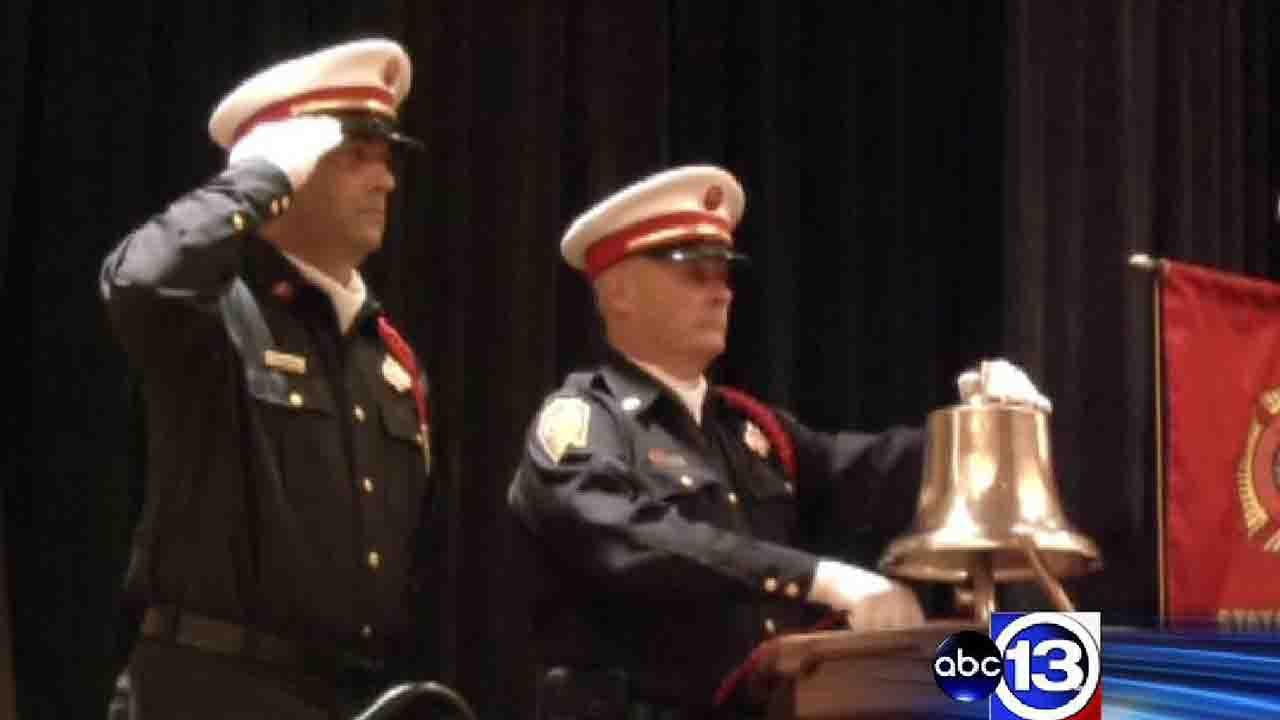 A memorial ceremony to honor fallen firefighters in The Woodlands ended with a bell tolling the signal that a firefighter had gone home