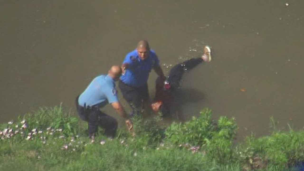 Once one of the suspect jumped into the bayou, he called for deputies to rescue him because he couldnt swim.