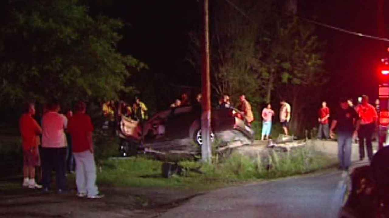 Three people were injured when the car crashed on Becker and Ridlon.