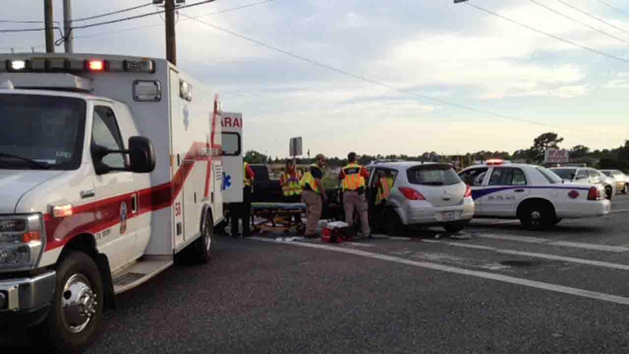 Emergency responders at the scene of a crash involving a deputy in northwest Harris County