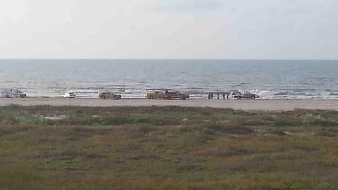 An ABC13 viewer submitted this photo to news@abc13.com of the scene in Galveston near San Luis Pass where a body was found. Coast Guard, police, beach patrol, ambulaces and other emergency crews were at the scene.