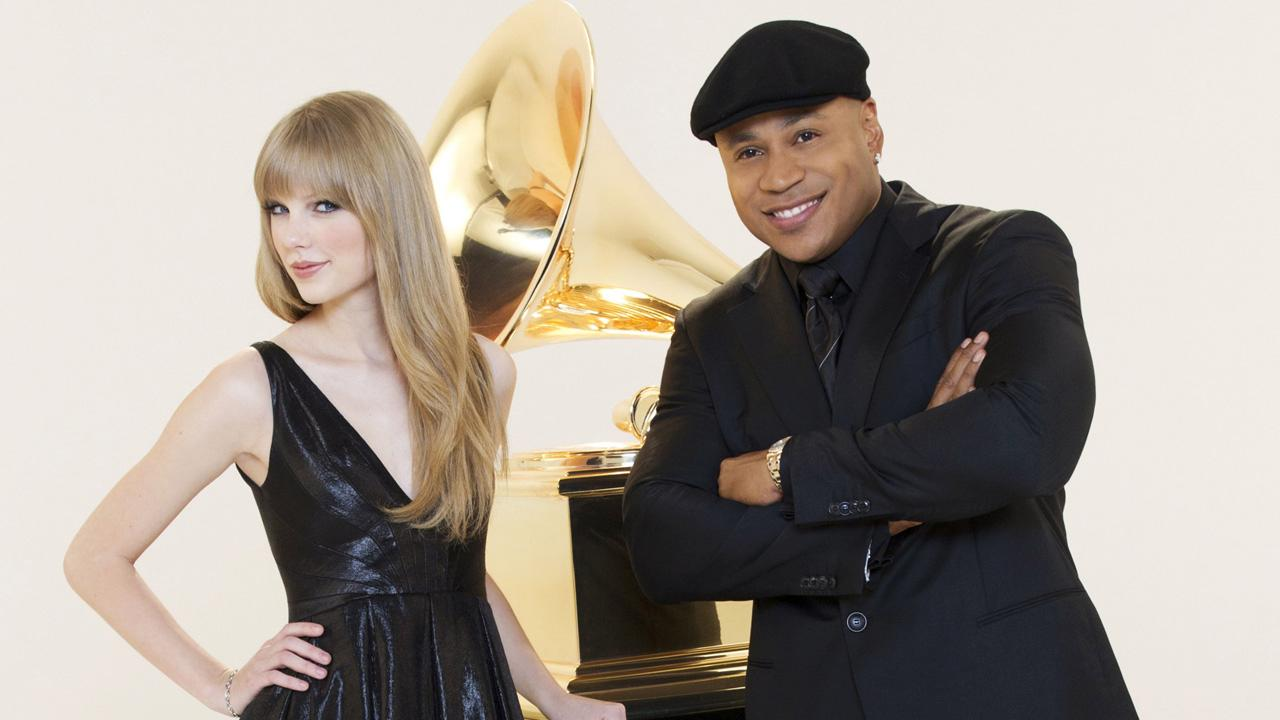 Taylor Swift and LL Cool J appear in a promo for the 2012 Grammy Awards.