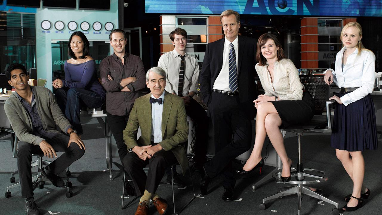 Dev Patel, Olivia Munn, Thomas Sadoski, Sam Waterston, John Gallagher Jr., Jeff Daniels, Emily Mortimer and Alison Pill appear in a still from the HBO series, The Newsroom.