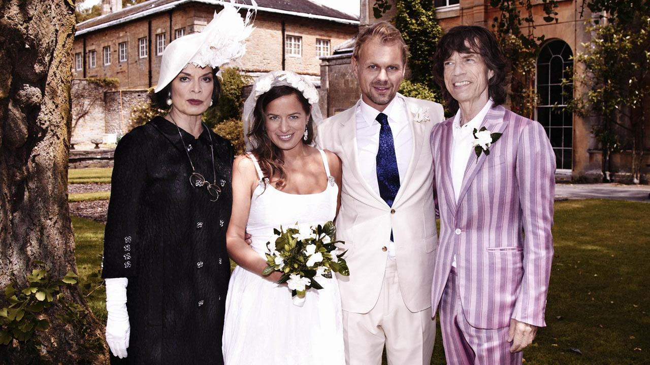 This photo dated Saturday June 30, 2012 released by LD Communications shows Jade Jagger, 2nd left, at her wedding to Adrian Fillary, 2nd right, with her parents Bianca Jagger and Mick Jagger at Aynhoe Park, Banbury, England, Saturday June 30, 2012.Robert Astley-Sparke/LD Communications