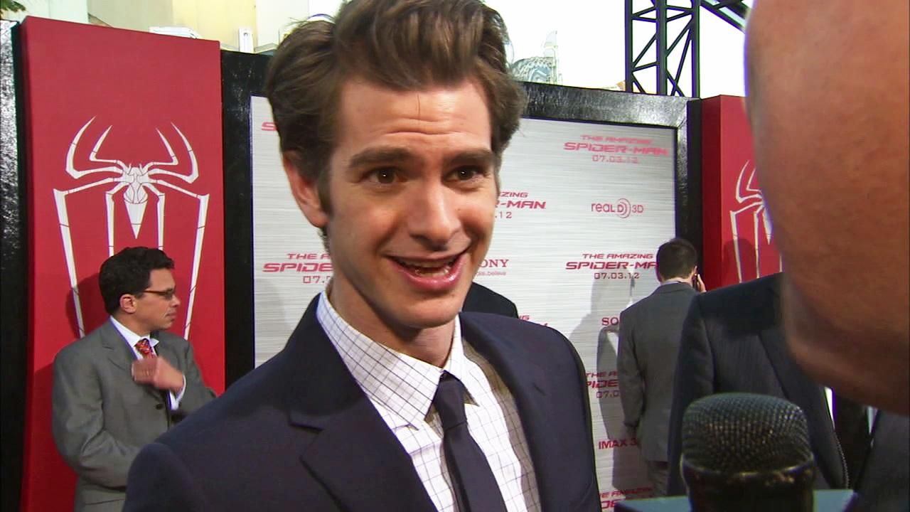 Andrew Garfield talks to OnTheRedCarpet.com at the Hollywood premiere of The Amazing Spider-Man, at Westwoods Regency Village Theatre in Los Angeles on June 28, 2012.